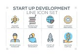 Start up and Development keywords with line icons
