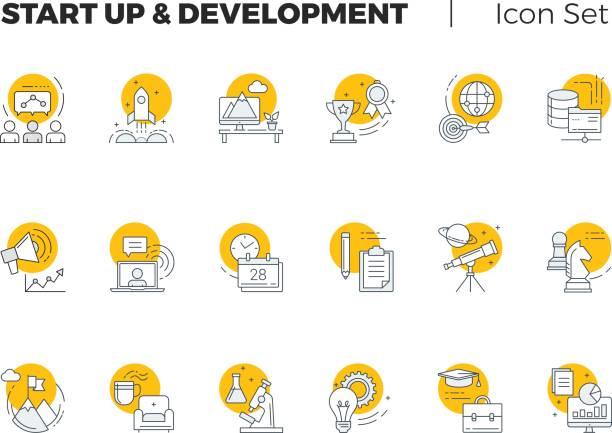illustrations, cliparts, dessins animés et icônes de démarrage et développement vector icon set - entrepreneur