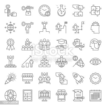 start up and success entrepreneur related icon such as mindset, launching start up, vision, time management, skills development, crowdfunding and marketing research, outline editable stroke icon