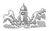 Start Up Ascending Rocket Drawing