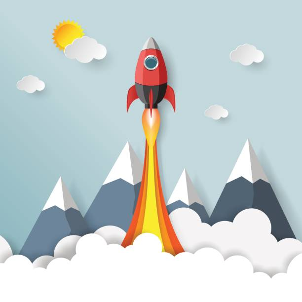 start up business concept paper art style. - abstract of paper spaceship launch to space stock illustrations, clip art, cartoons, & icons