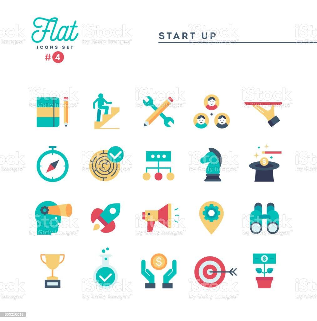 Puesta en marcha de negocios, emprendimiento y más, fino conjunto de iconos de línea - ilustración de arte vectorial