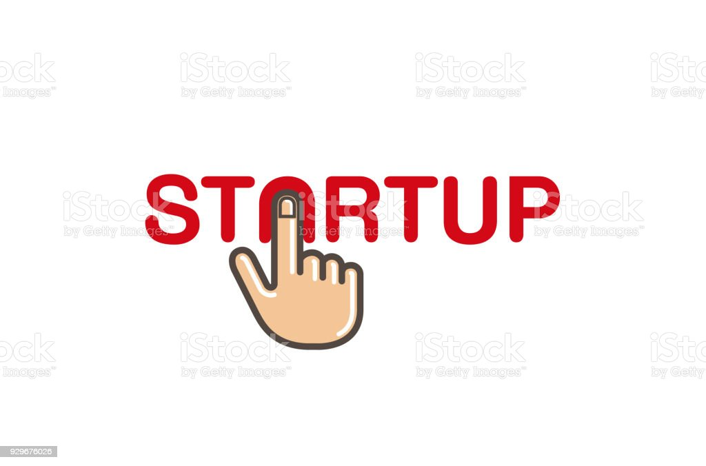 Start Up Click Hand Text Letter Stock Vector Art More Images Of