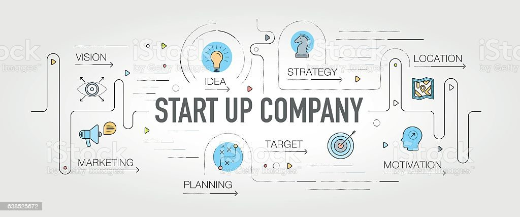 Start up Company banner and icons vector art illustration