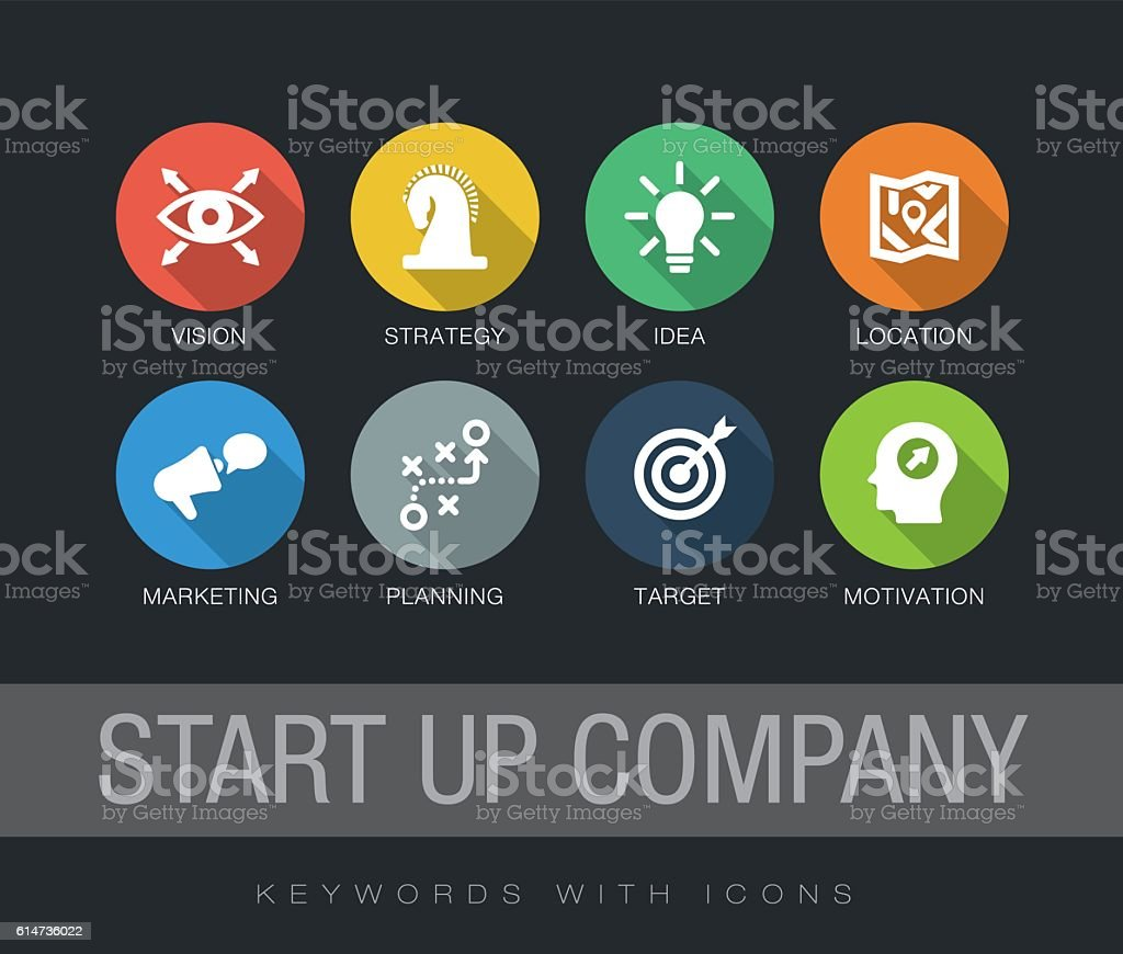 Start up Company keywords with icons vector art illustration