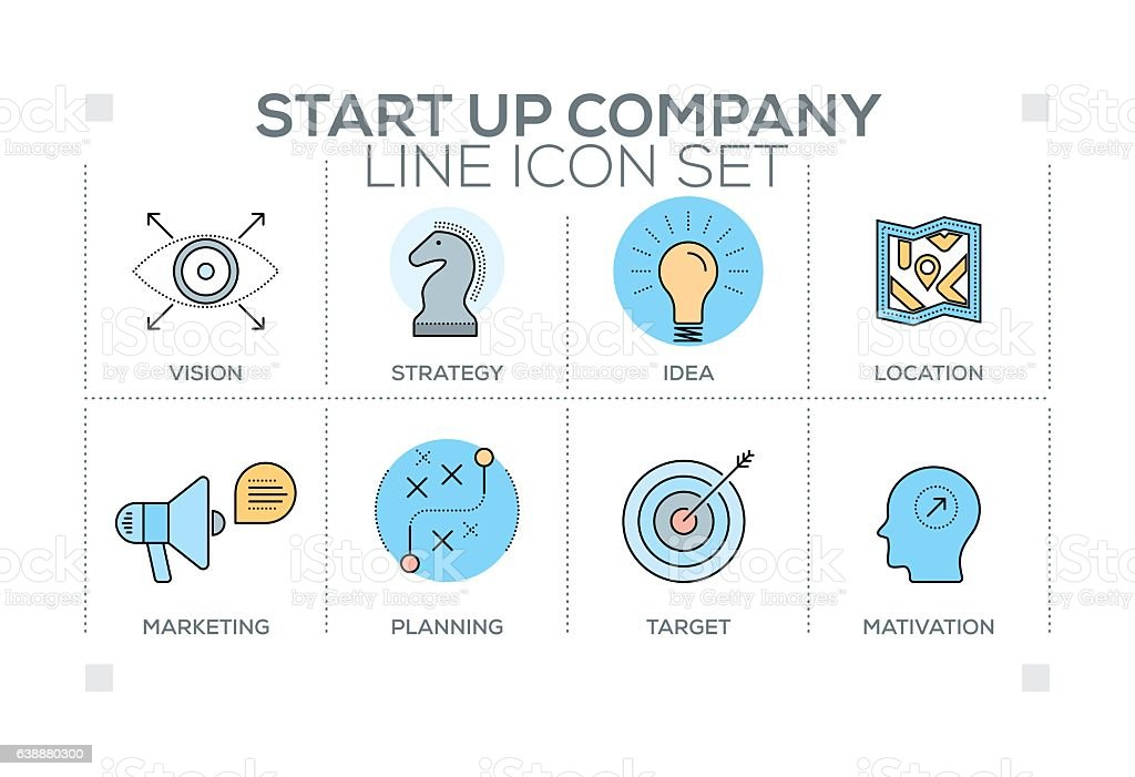 Start up Company keywords with line icons vector art illustration