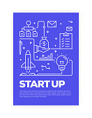 Start Up Concept Line Style Cover Design for Annual Report, Flyer, Brochure.