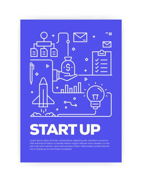 ilustrações, clipart, desenhos animados e ícones de arranque o conceito design de capa de estilo de linha para anual relatório, flyer, folheto. - entrepreneurship