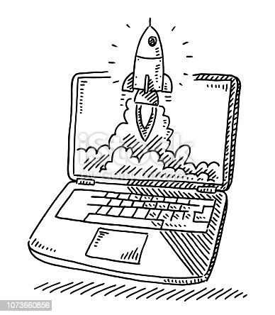 Hand-drawn vector drawing of a Start Up Concept with a Rocket ascending out of a Laptop Screen. Black-and-White sketch on a transparent background (.eps-file). Included files are EPS (v10) and Hi-Res JPG.