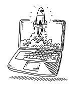 Start Up Concept Rocket Laptop Drawing