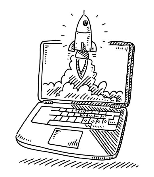Start Up Concept Rocket Laptop Drawing Hand-drawn vector drawing of a Start Up Concept with a Rocket ascending out of a Laptop Screen. Black-and-White sketch on a transparent background (.eps-file). Included files are EPS (v10) and Hi-Res JPG. transportation stock illustrations