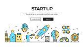 Start Up Flat Line Web Banner Design