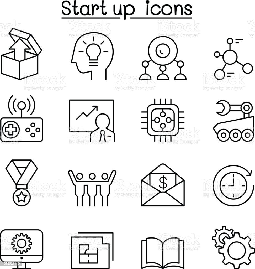 Start up icon set in thin line style vector art illustration