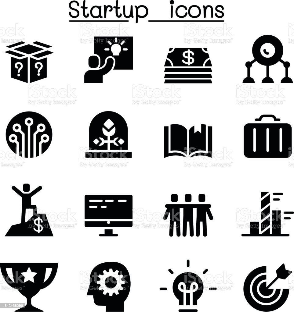 Start up icons vector art illustration