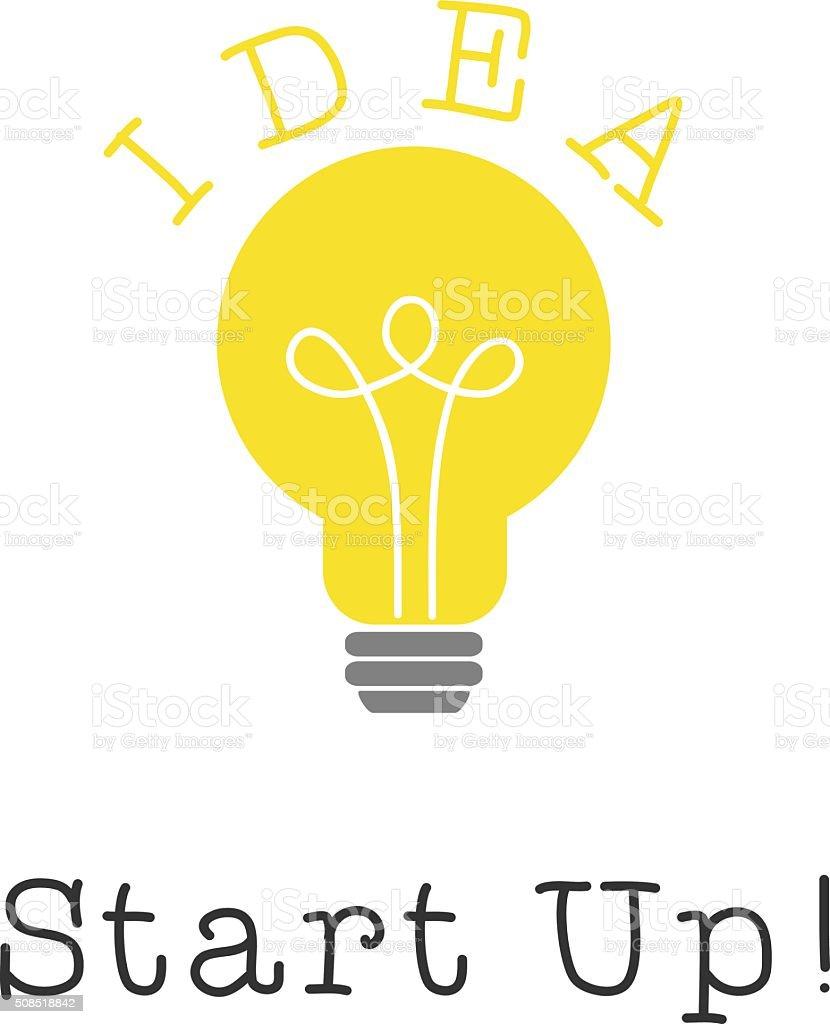 スタートアップアイデア電球ライトオン白の背景ます のイラスト素材