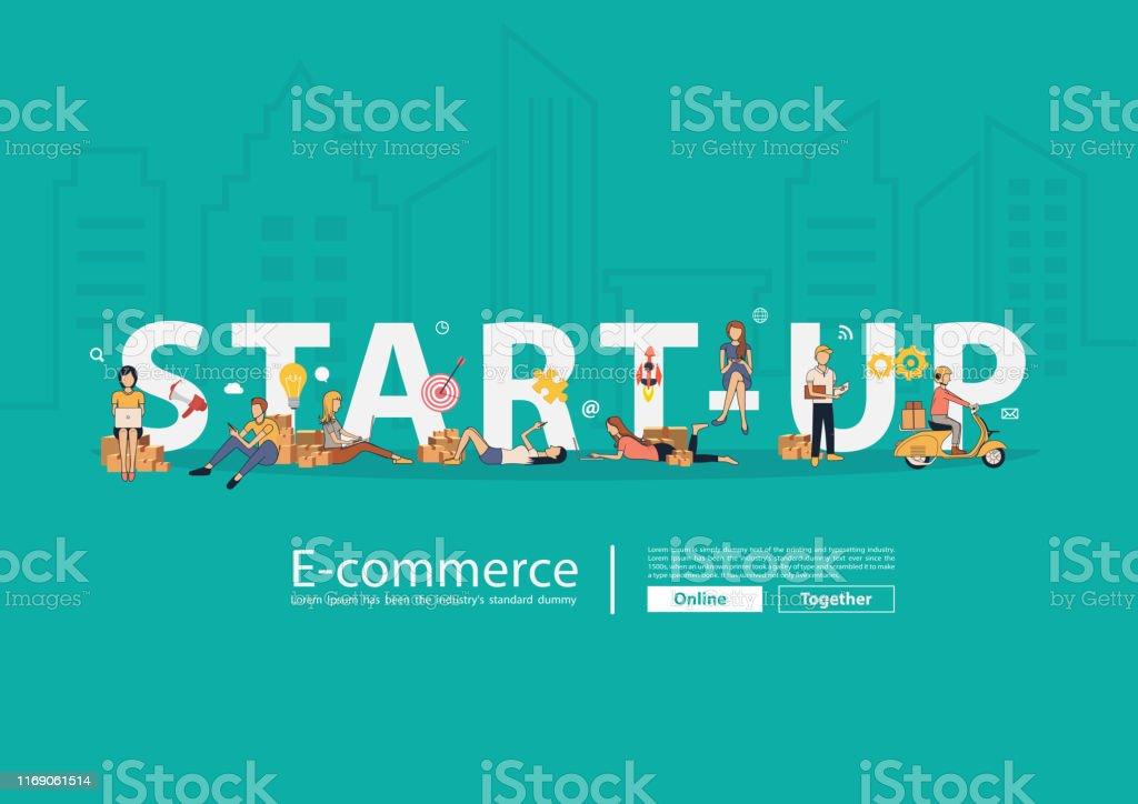 Concetto di idea di start-up, persone vettoriali che vendono prodotti online con il proprietario di piccole imprese, Young che utilizza gadget mobili computer portatile e pacco postale scatola - arte vettoriale royalty-free di Applicazione mobile
