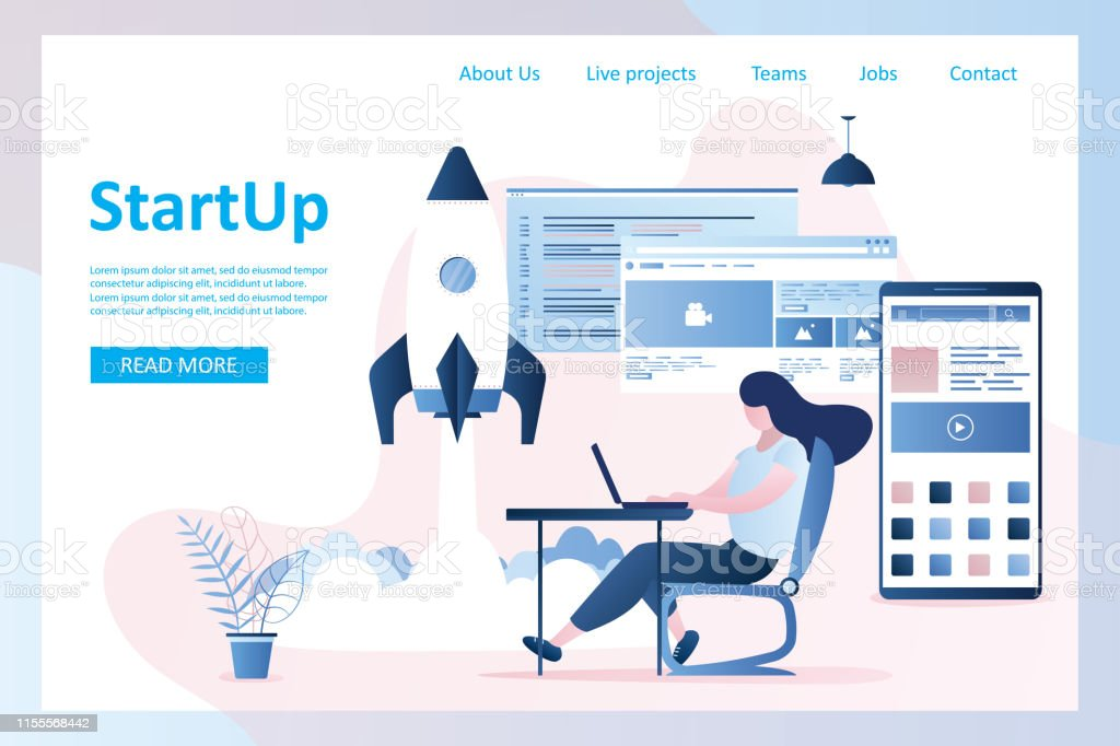 Start up landing page,rocket take off,girl programmer with laptop and...