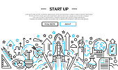 Start Up - line design website banner temlate