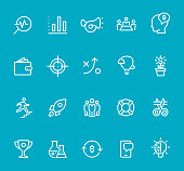 Pixel Perfect - Isolated on Blue - Start Up Set #70 Icons are designed in 48x48pх square, outline stroke 2px.  First row of outline icons contains:  Market Research, Bar Graph Chart, Advertisement (Car Horn), Meeting, Employee Costs;  Second row contains:  Capital (Wallet), Target, Strategy, Success, Money Growth;  Third row contains:  Up to Career Ladder, Start Up, Teamwork, Buoy, Beginnings;   Fourth row contains:  Trophy, Research, Money Flow, Mobile App, Creativity.  Complete Bimico collection - https://www.istockphoto.com/collaboration/boards/t8tfiS1uqEecwP9AO9SJmw