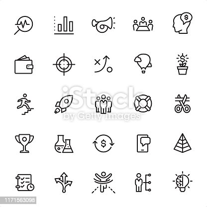 Start Up - 25 Outline Style - Single black line icons - Pixel Perfect / Pack #62 Icons are designed in 48x48pх square, outline stroke 2px.  First row of outline icons contains: Searching, Bar Graph, Advertisement, Meeting, Employee Costs;    Second row contains: Capital, Target, Strategy, Success, Investment;  Third row contains: Staircase, Start Up, Teamwork, Buoy, Beginnings;  Fourth row contains: Trophy, Research, Money Flow, Mobile App, Pyramid;  Fifth row contains: Checklist, Decisions, Winning, Tasks, Creativity.  Complete Grandico collection - https://www.istockphoto.com/collaboration/boards/FwH1Zhu0rEuOegMW0JMa_w