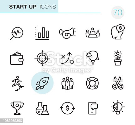 20 Outline Style - Black line - Pixel Perfect icons / Start Up Set #70 Icons are designed in 48x48pх square, outline stroke 2px.  First row of outline icons contains:  Market Research, Bar Graph Chart, Advertisement (Car Horn), Meeting, Employee Costs;  Second row contains:  Capital (Wallet), Target, Strategy, Success, Money Growth;  Third row contains:  Up to Career Ladder, Start Up, Teamwork, Buoy, Beginnings;   Fourth row contains:  Trophy, Research, Money Flow, Mobile App, Creativity.  Complete Primico collection - https://www.istockphoto.com/collaboration/boards/NQPVdXl6m0W6Zy5mWYkSyw