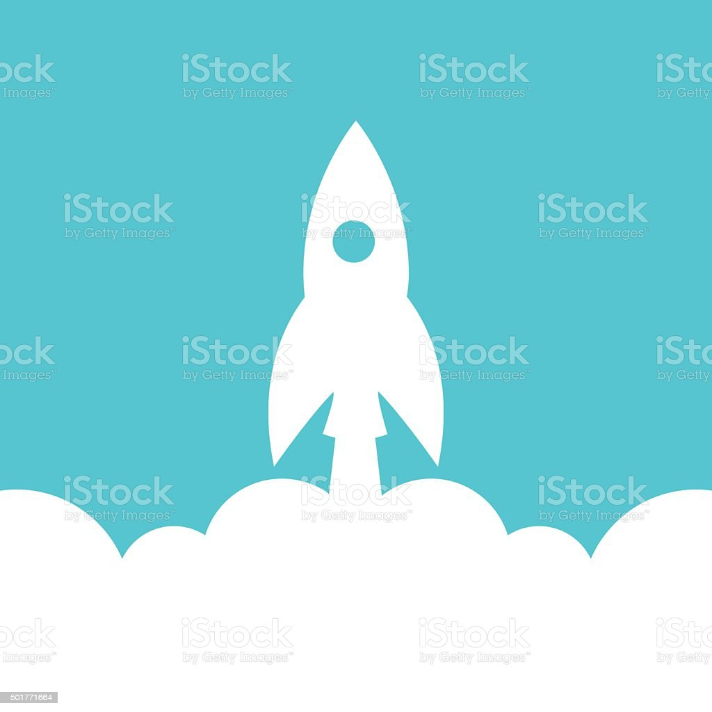 Start Up Rocket Icon vector art illustration