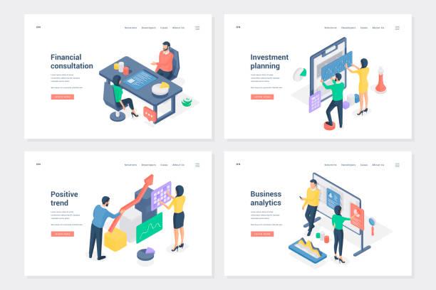 ilustraciones, imágenes clip art, dibujos animados e iconos de stock de inicio, configuración de plantillas de página de destino isométricas de etapas de negocio - financial planning
