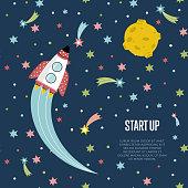 Start up Space Cartoon Vector Web Banner
