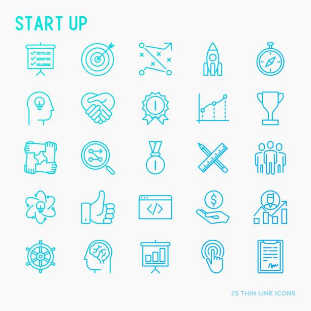 illustrations, cliparts, dessins animés et icônes de démarrer un ensemble d'icônes mince ligne de développement, croissance, succès, idée, investissement. illustration vectorielle pour la bannière, page web, presse écrite. - entrepreneur