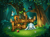 Start window for game user interface. Vector illustration screen to the computer game Shadowy forest GUI. Background image to create buttons, banners, graphics.