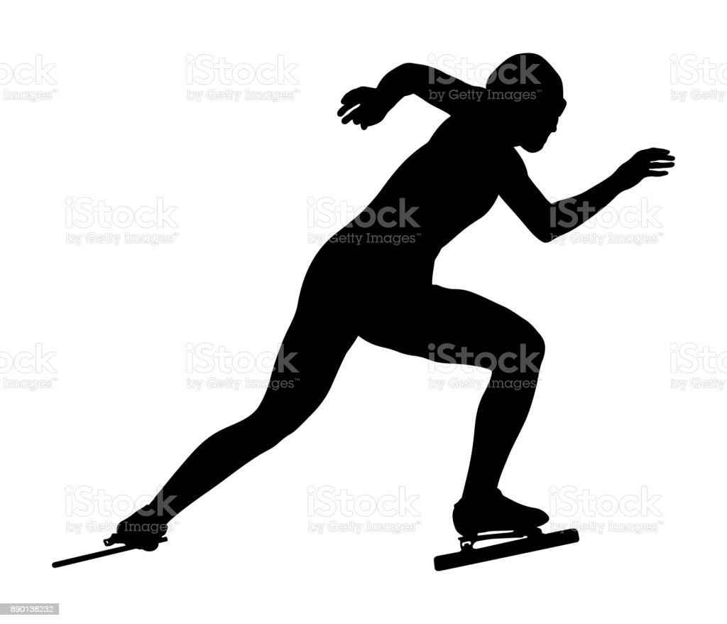 start women athletes speedskater vector art illustration