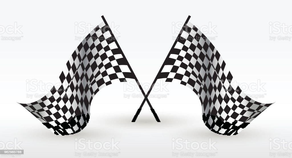 Starting and finishing flag. Auto Moto racing. Checkered flag. Vector...