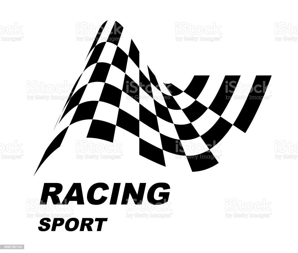 Start und Ziel Flaggen. Auto-Moto-Racing. Karierte Flagge. – Vektorgrafik