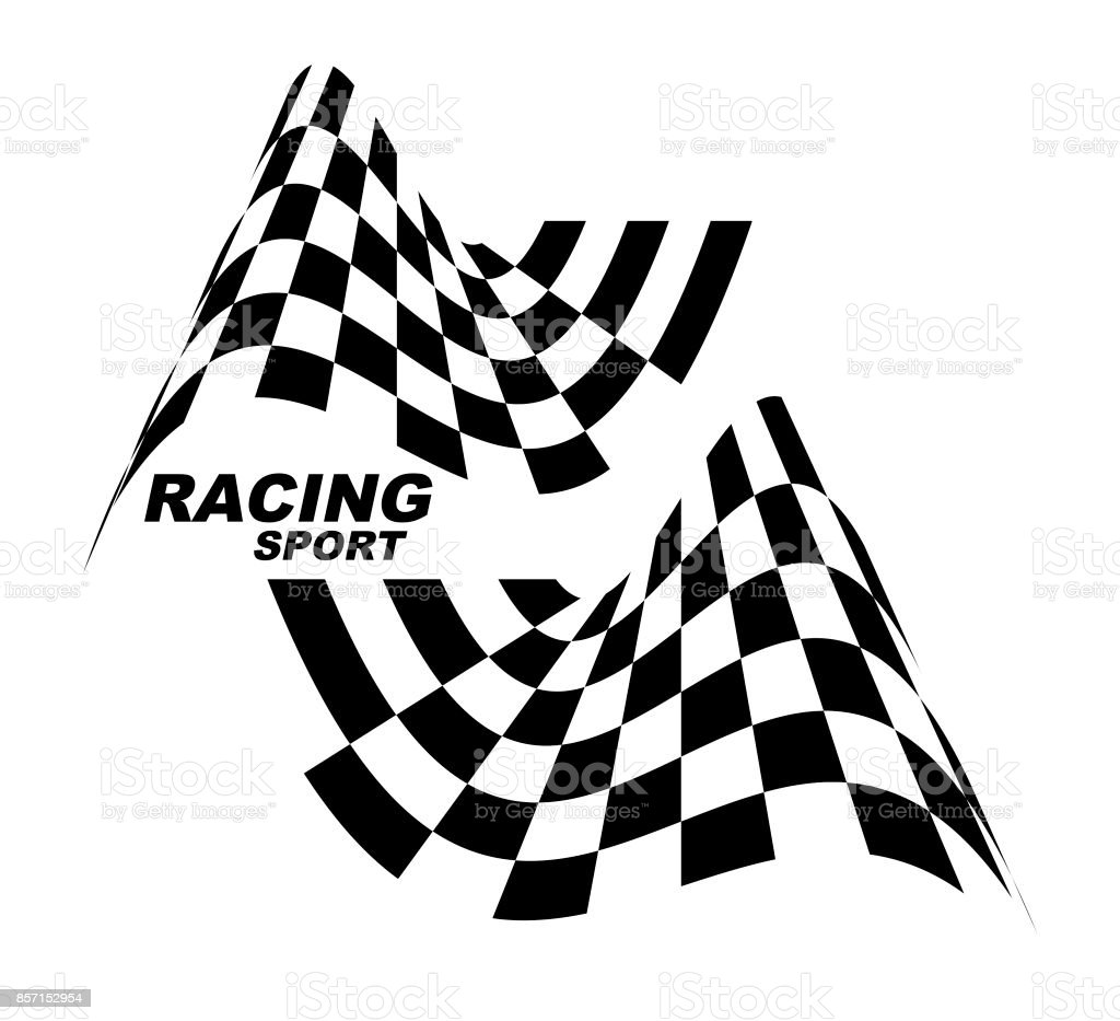 Starting and finishing flags. Auto Moto racing. Checkered flag.. vector art illustration
