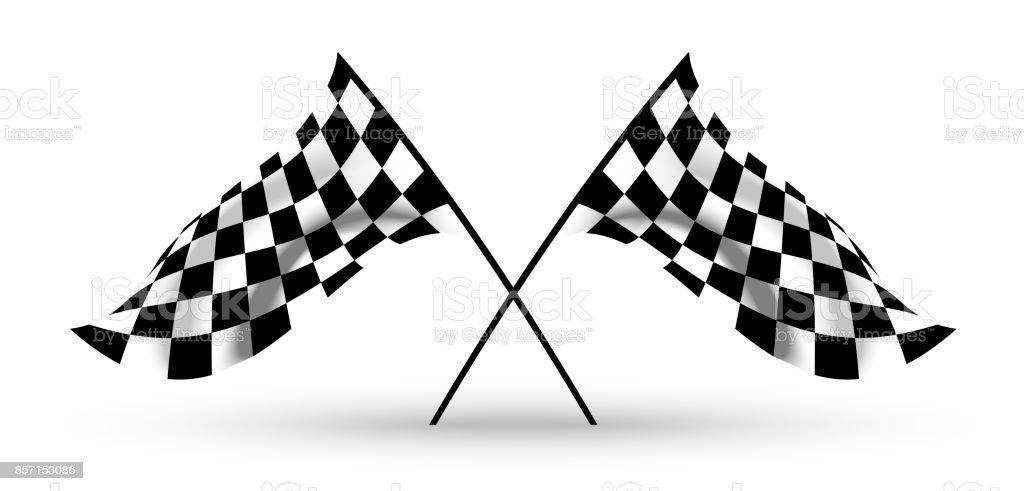 Start und Ziel Flaggen. Auto-Moto-Racing. Karierte Flagge – Vektorgrafik