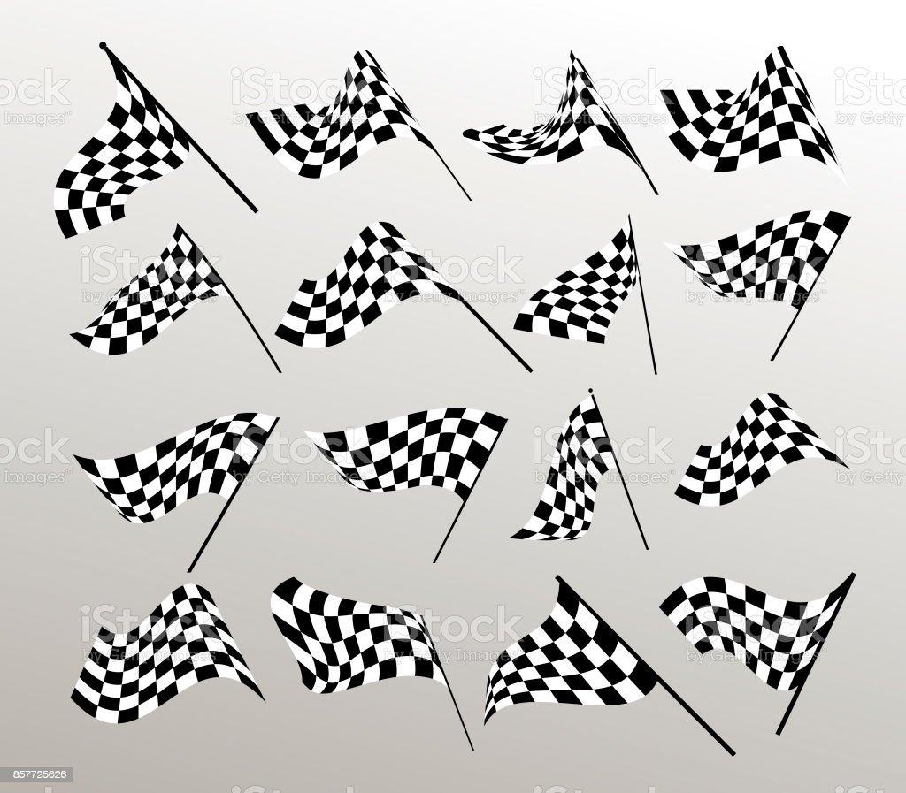 Start und Ziel Flaggen. Auto-Moto-Racing. Karierte Flagge. Vektor-Set. – Vektorgrafik