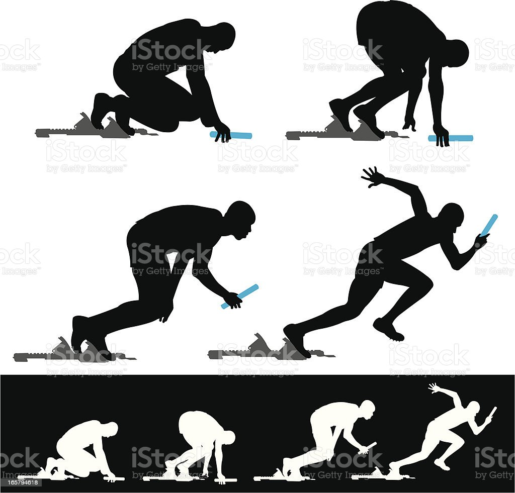 Starting Block Track Sprinter Relay Race royalty-free starting block track sprinter relay race stock vector art & more images of activity