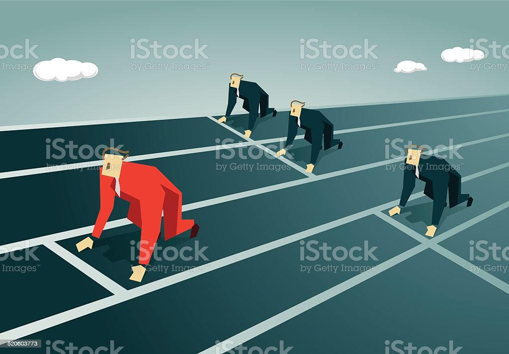 Starting Line, Competition, favoritism,foul play,injustice vector art illustration