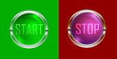 start-stop button set, vector illustration