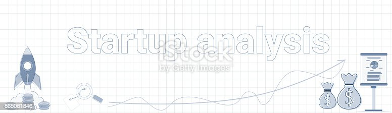 istock Startup Analysis Word On Squared Background Horizontal Banner New Idea Development Concept 865081846