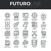 Startup and Development Futuro Line Icons Set