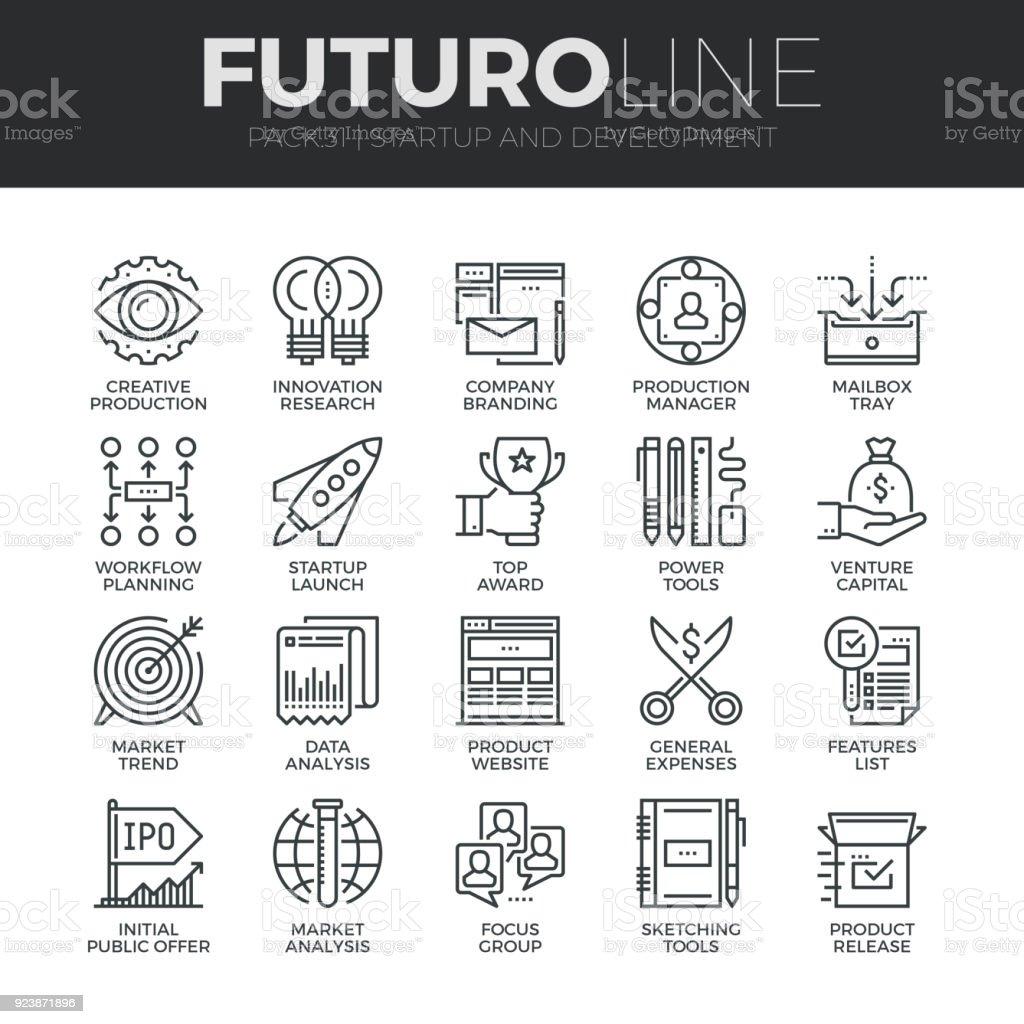 Puesta en marcha y desarrollo Futuro iconos juego - ilustración de arte vectorial