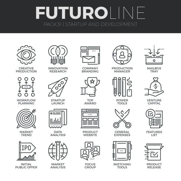 illustrations, cliparts, dessins animés et icônes de démarrage et développement futuro ligne icons set - décoller activité