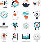 Abstract vector collection of flat startup and new business icons. Elements for mobile and web applications.