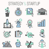 Startup and strategy outline web busines icon set for websites ui management finance start up vector illustration