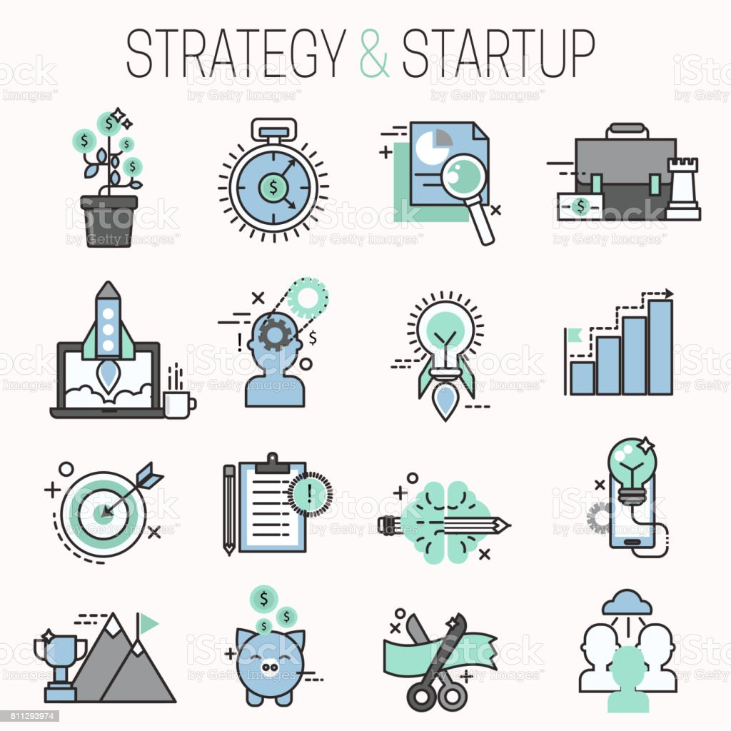 Startup and strategy outline web busines icon set for websites ui management finance start up vector illustration vector art illustration