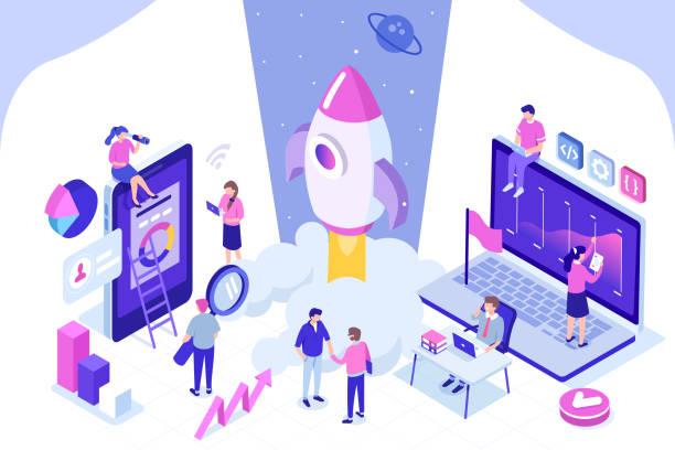 ilustrações, clipart, desenhos animados e ícones de faixa de inicialização - startup