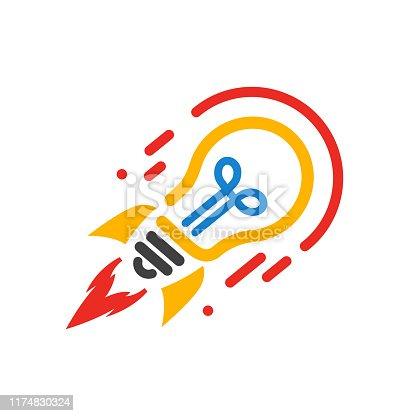 Startup, bulb rocket concept – stock vector