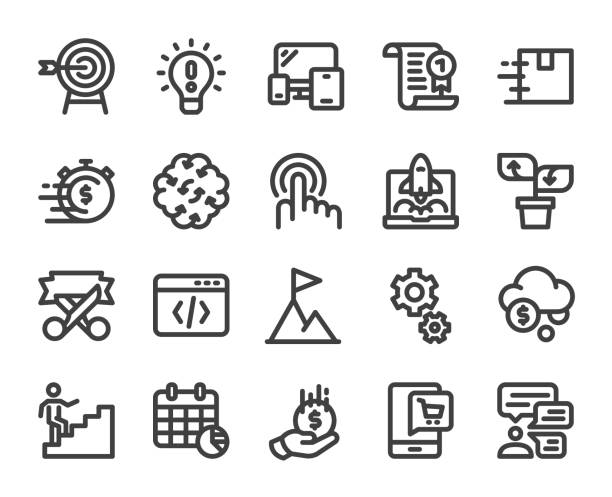 Startup Business - Bold Line Icons vector art illustration