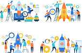 Startup business characters. Rocket launch success people making work freedom career managers office vector business concept. Illustration of project startup and teamwork progress